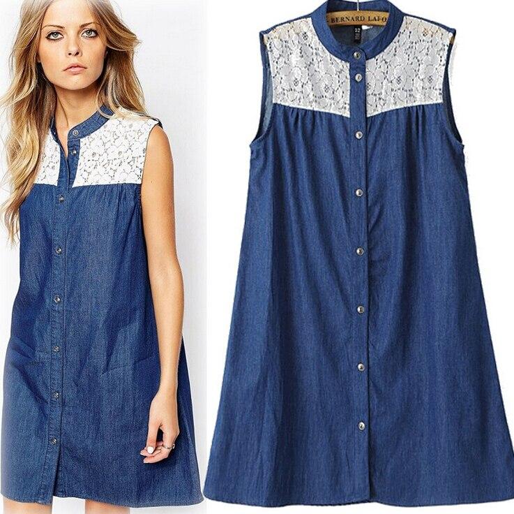 f0d3f6ca76 2015 New Summer Women Sexy Jeans Dress Lace Patchwork Tank Sleeveless Denim  Dresses Casual Ladies Denim Jean Vest Dress vestidos