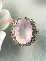 Natural Rose Quarts Silver Ring Faced Stone In Oval 10mm 14mm Light Pink Color Good Quality