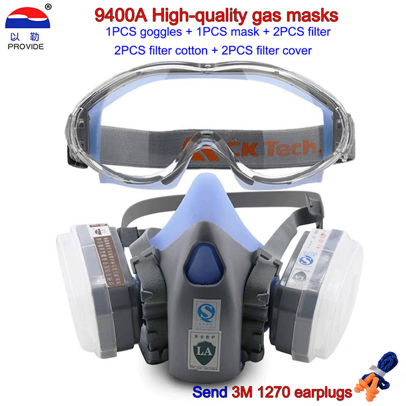 PROVIDE 9400A Goggles + gas mask high quality Combination protective mask Spray paint painting Pesticide spray filter mask
