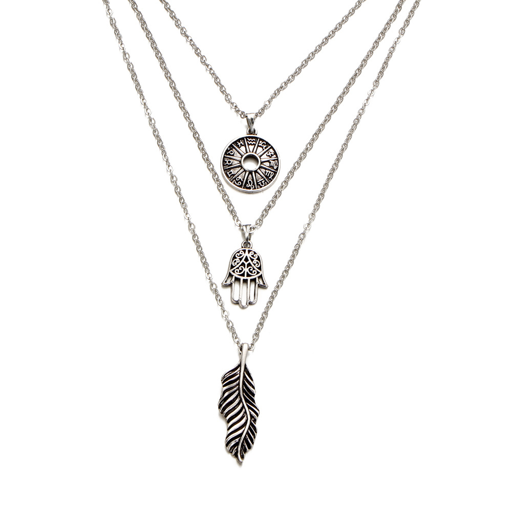 2017 fashion fatima hamsa hand feather wafer symbol pendant 2017 fashion fatima hamsa hand feather wafer symbol pendant necklace multilayer long chains necklaces summer beach jewelry in pendant necklaces from buycottarizona Gallery