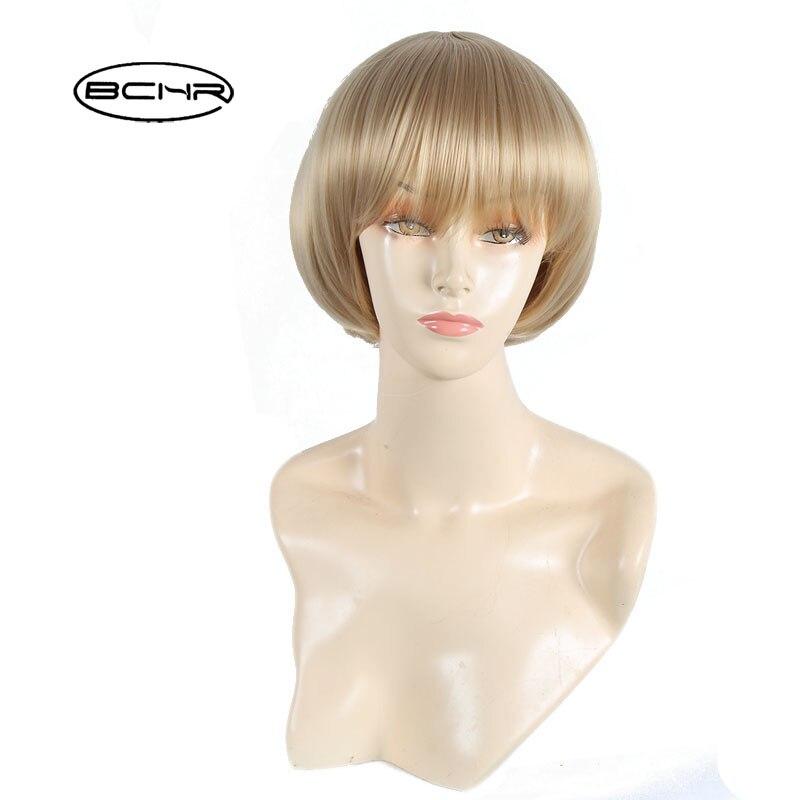 Bchr Горячее предложение короткие Синтетические волосы Искусственные парики для Для женщин очаровательный термостойкие Волокно светлые Акк...