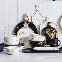MDZF European Marble Pattern Ceramic Plate Depicting Goldfish Dish Big Soup Bowl Snack Belt With Ceramic Tray Plate