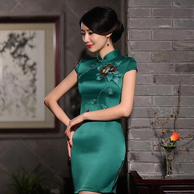 Winter DressThe New Summer And Fall Hand-Painted Silk Cheongsam High-End Fashion Retro Fresh Cheongsam Autumn Sexy Dress 721