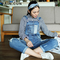 2016 Auntum New Arrival Womens Jumpsuit Denim Overalls Disessed Casual Pants Ripped Hole Loose Boyfriend Jeans for Women N2209