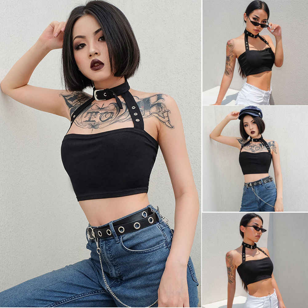 ccd235a00ccc Women Casual Strap Vest Cropped Girls Cotton Ribbed Cami Tank Crop Tops