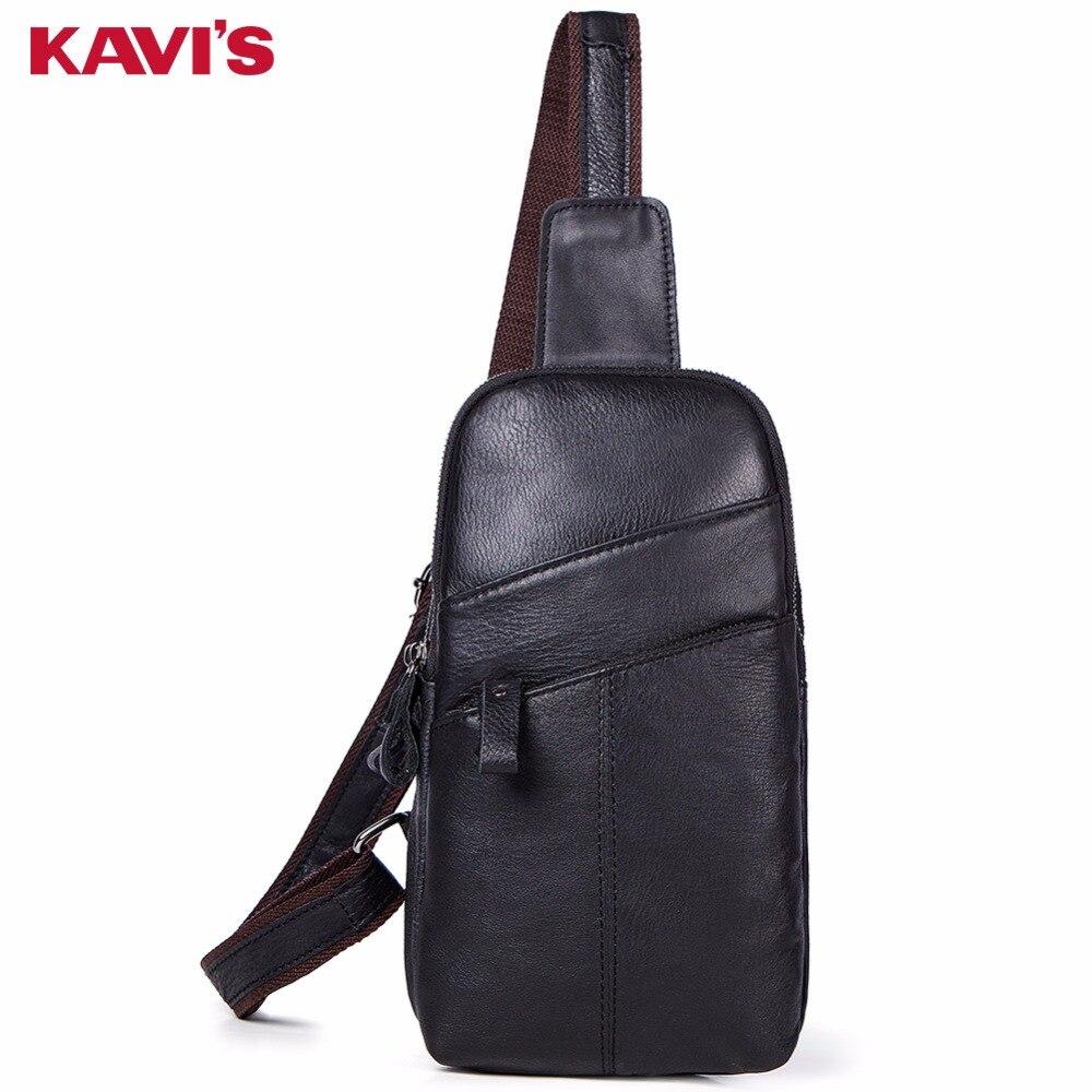 KAVIS Sac de poitrine en cuir véritable hommes Sac à main épaule embrayage homme sacs Bolsas Shopper Designer Tas Sac bandoulière Messenger