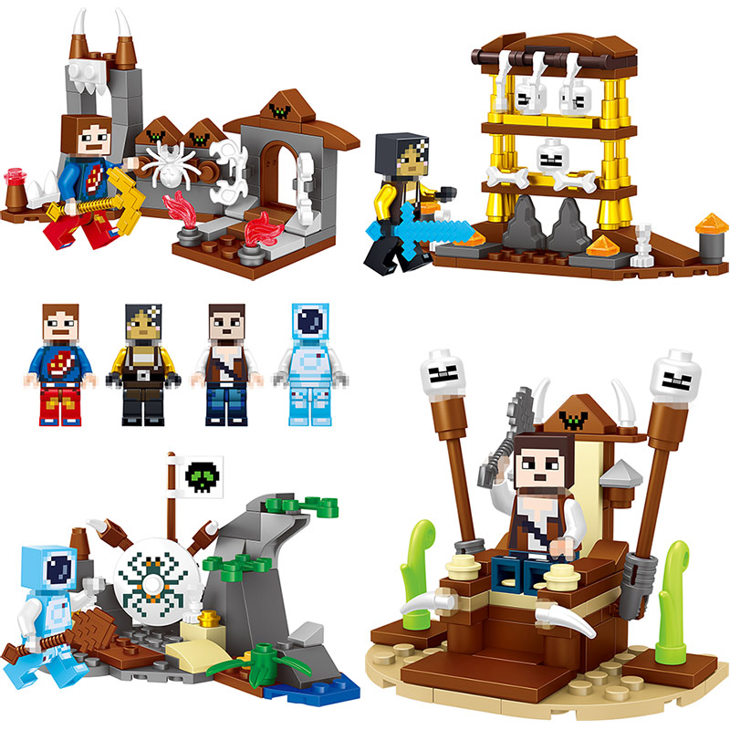 4 in 1 67pcs Latest Building Blocks Compatible LegoINGLYS Minecrafter Brick My World Against zombies Product Portfolio Toy lele my world power morse train building blocks kits classic educational children toys compatible legoinglys minecrafter 541 pcs