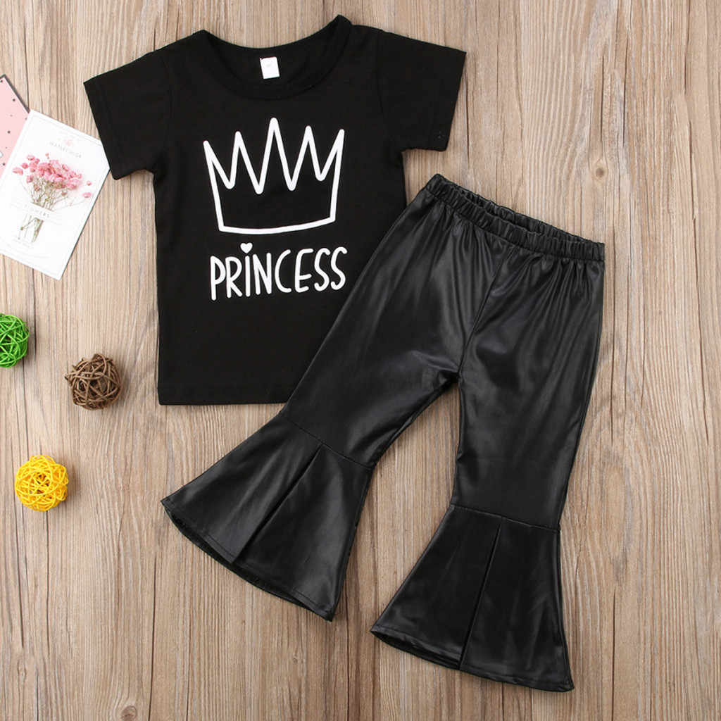Toddler Baby Girls Clothes Set Letter crown Print T Shirt Tops+ Bell-bottoms Pants 2Pcs Sets Leather pants Clothing Outfits Sets