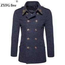 ФОТО winter coat mens tops clothing brand fashion windbreaker coat new 2017 men casual chinese style embroidery woolen overcoat s-xxl
