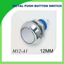 12mm metal push botton waterproof nickel plated brass push button switch 1NO momentary reset