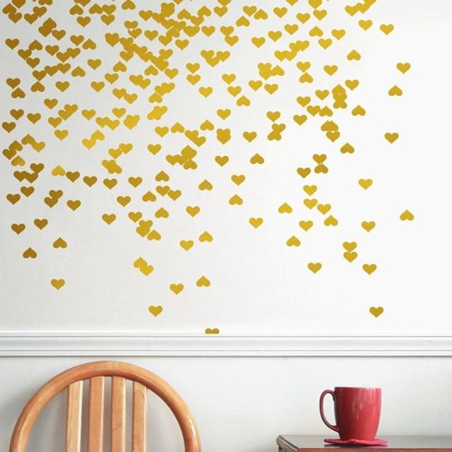 81pcs heart wall decal /gold heart decal / lovely heart murals wall