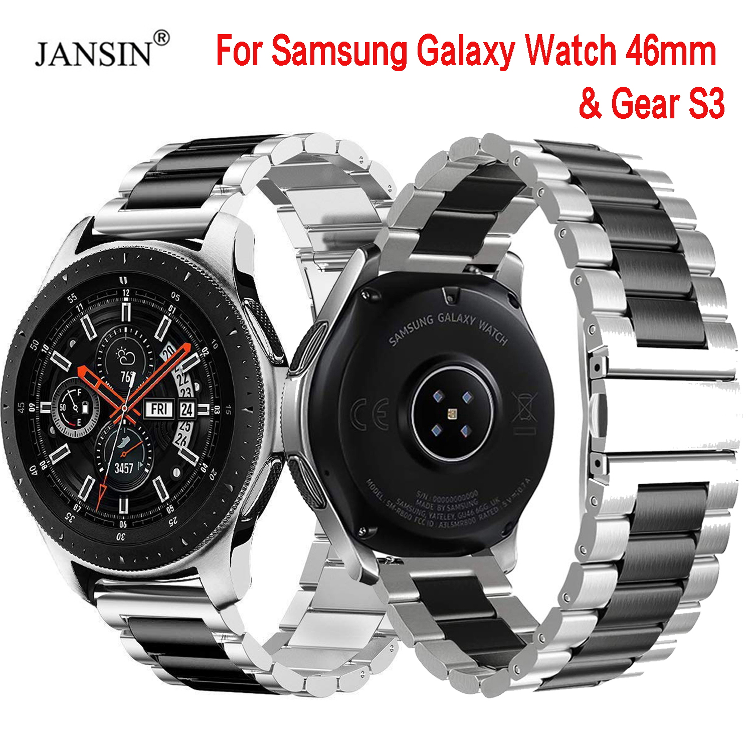 22mm Width Universal Stainless Steel Band For Samsung Galaxy Watch 46mm /Gear S3 Classic/S3 Frontier Watch Strap Metal Wristband