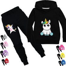 New Unicorn Kids Sportswear Tracksuits Autumn Winter 2 Piece Set Casual Hooded Sweatshirt Children + Pants