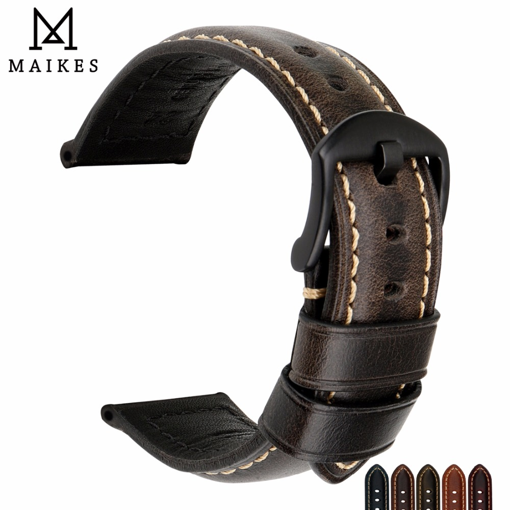 MAIKES Quality Vintage Oil Wax Leather Watch <font><b>Strap</b></font> Watch Accessories Watch Band Bracelet 20mm 22mm <font><b>24mm</b></font> 26mm For IWC <font><b>Breitling</b></font> image