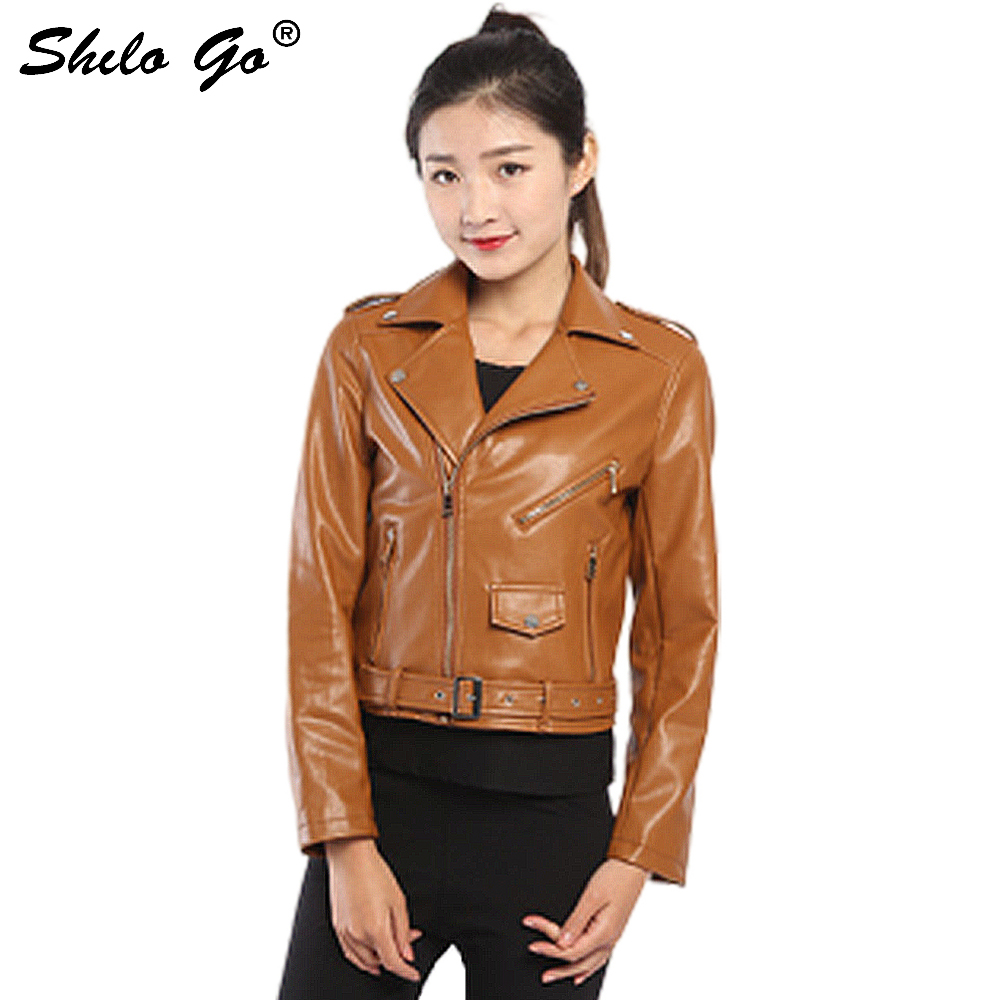 Mode nouveau W automne femmes de haute qualité européenne marron rose zipper marée moto Faux peau de mouton en cuir veste courte