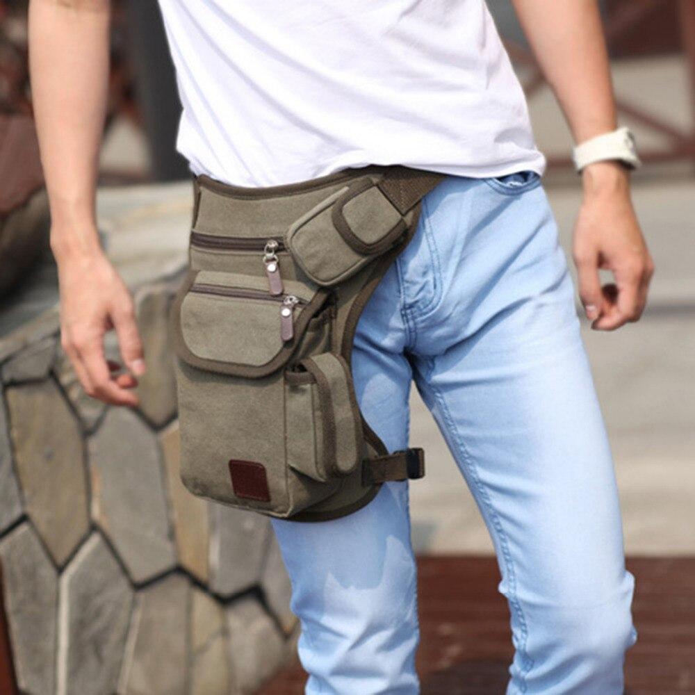 Men's Canvas Drop Leg Bag Waist Pack Belt Hip Bum Military Travel Motorcycle Multi-purpose Messenger Shoulder Bags drop shoulder plain coat with belt