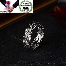 OMHXZJ,, Европейская мода, ювелирные изделия для женщин, девушек, для вечеринки, дня рождения, свадьбы, подарок, винтажное цветочное 925 пробы, серебряное кольцо RR1018