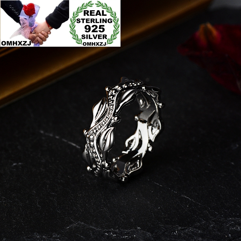 OMHXZJ Wholesale European Fashion Jewelry Woman Girl Party Birthday Wedding Gift Vintage Flower 925 Sterling Silver Ring RR1018