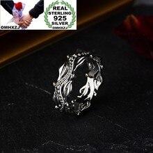 OMHXZJ-joyería de moda europea para mujer y niña, regalo de cumpleaños, boda, flor Vintage, anillo de Plata de Ley 925 RR1018