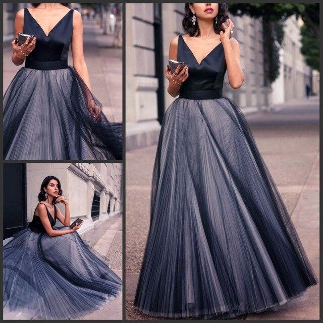 57f6fb0b3fcc Elegante tulle donne lungo da sera vestiti da partito dark navy gonna a  pieghe blu con