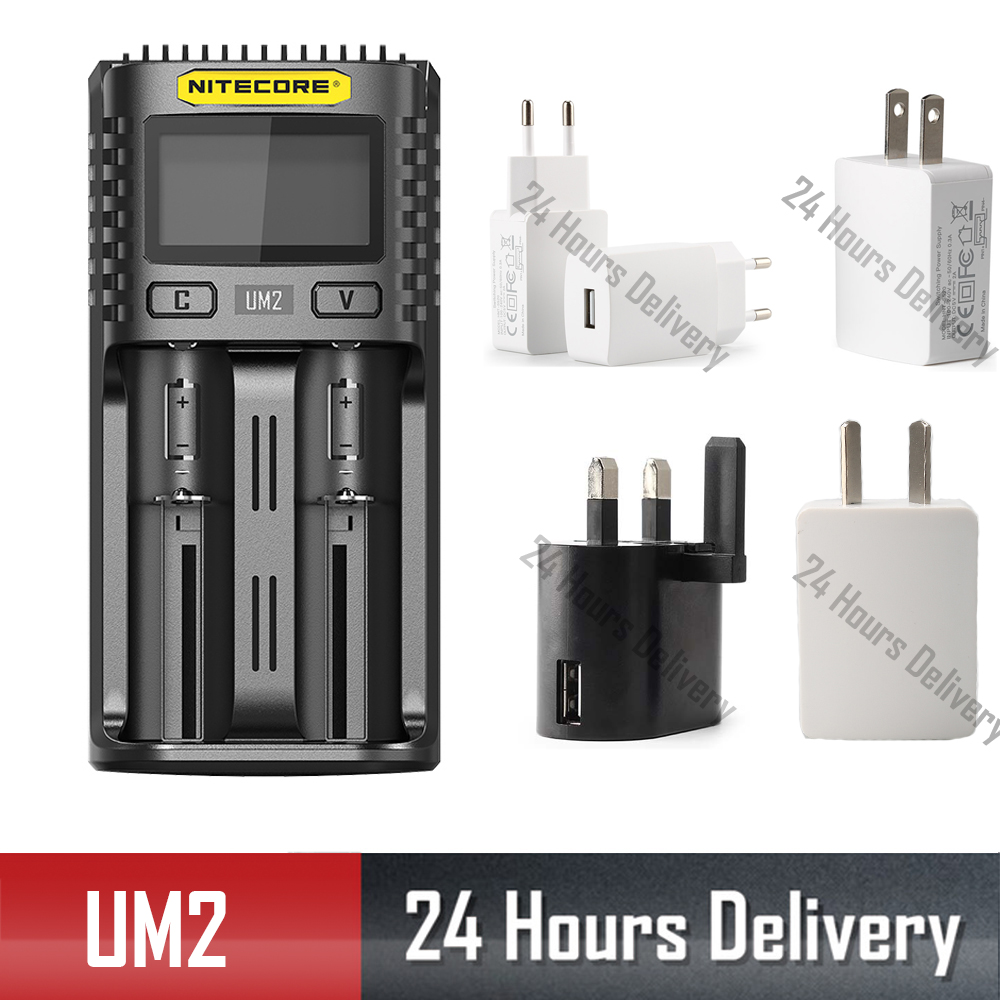 Nitecore UM2 UM4 USB  QC Charger Intelligent Circuitry Global Insurance Li-ion AA AAA 18650 14500 21700 20700 Battery Charger