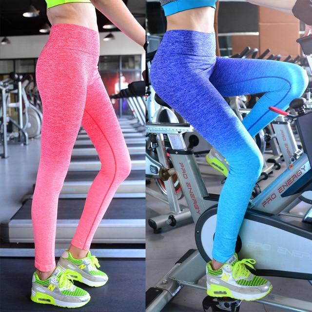 a3eb7a7d41 US $10.9 30% OFF|Women Yoga Pants Running Fitness Sport Elastic Tights High  Waist Leggings Training Pants Gym Sports Jogging Trousers-in Yoga Pants ...