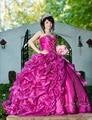 Vestidos de 15 años Fushia Quinceanera Vestidos novia largo de bola del tren plateado con cuentas cristales Quinceanera