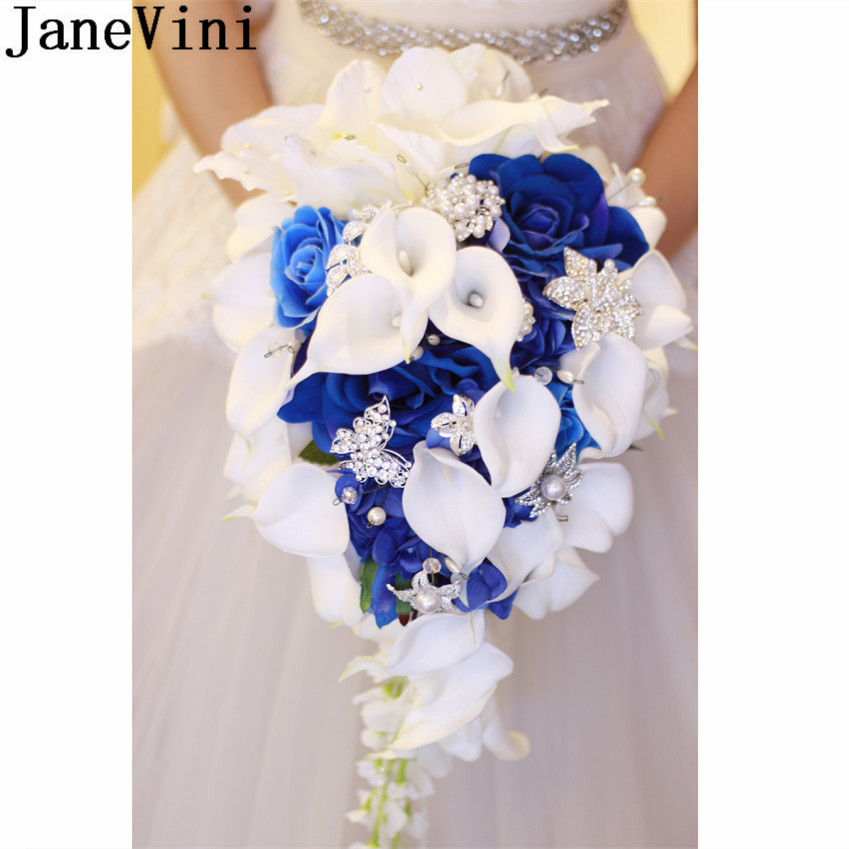 JaneVini Royal Blue Rose Wedding Bouquet Waterfall Crystal Artificial Flowers White Bridal Pearl Bride Bouquet Fleur Mariage