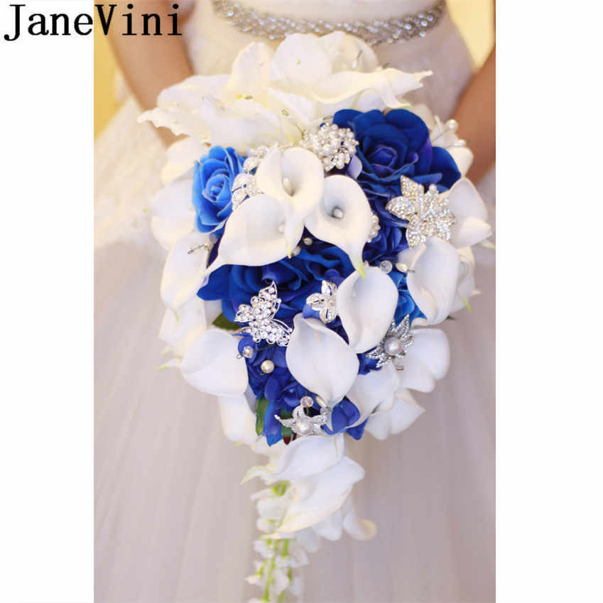 Janevini Royal Blue Rose Wedding Bouquet Waterfall Crystal