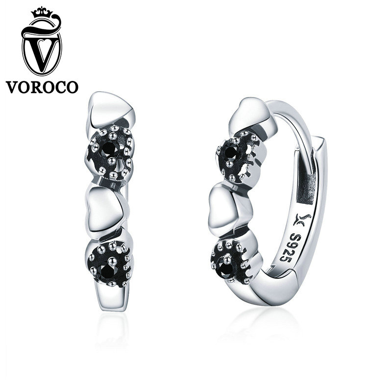 2018 VOROCO 925 Sterling Silver Hearts Dating Pure Love  Earrings For Women Wedding Party Cute Jewelry Chic Gift GXE4452018 VOROCO 925 Sterling Silver Hearts Dating Pure Love  Earrings For Women Wedding Party Cute Jewelry Chic Gift GXE445