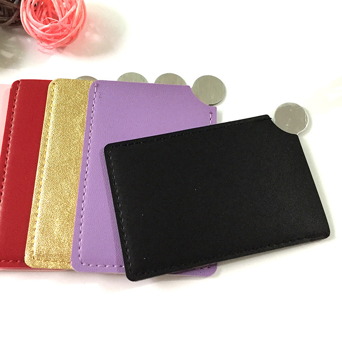 Original High Quality Portable Shatter Proof Card Style Pocket Cosmetic Mirror Pu Leather Cover Stainless Steel Unbreakable Makeup Mirror Beauty & Health