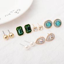 Women Crystal Gem Earrings for Boucle Doreille Jewelry Bohemian Earring Set Vintage Droplets Brincos