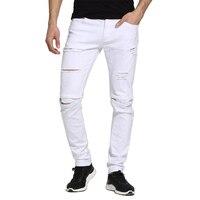 Mężczyźni Białe Dżinsy Fashion Design Slim Fit Casual Ripped Skinny Jeans Dla Mężczyzn H1704