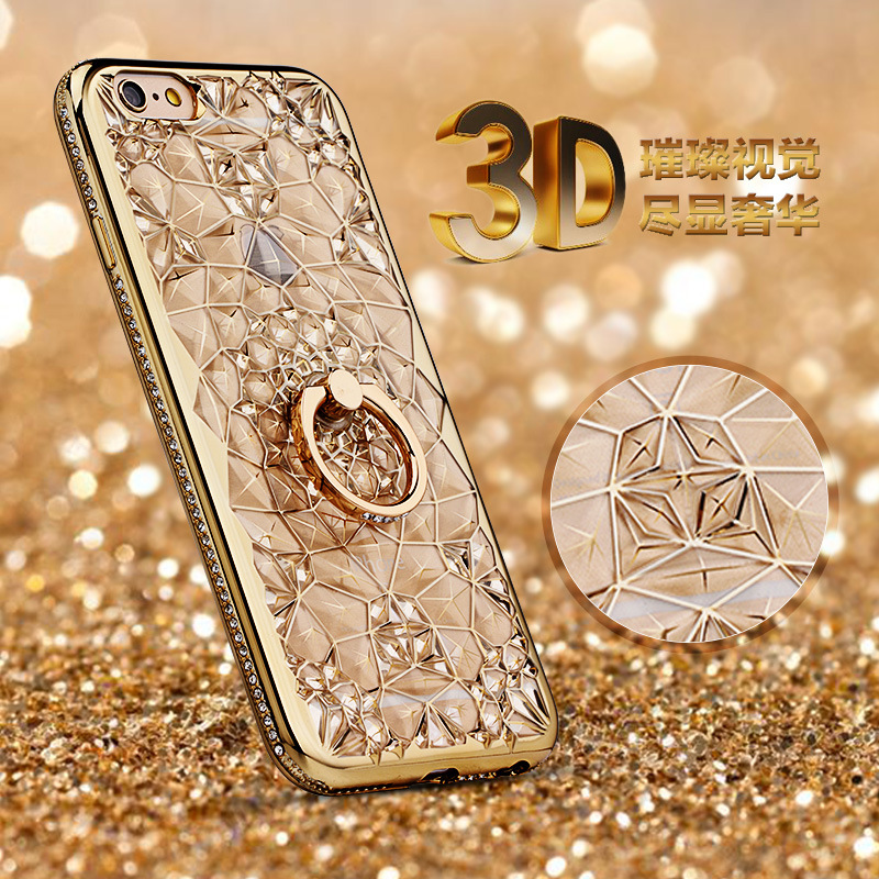 For iPhone 11 Pro XS Max XR Case Luxury 3D Soft Ring For iPhone SE 2020 5 6 7 8 Plus Ring Silicon Glitter Rhinestone Stand Cover(China)