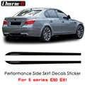2 шт., боковая юбка, полосы, порог, Виниловая наклейка, наклейки, новейший стиль, M, производительность, логотип для BMW 5 серии E60 E61 520i 523i 528i