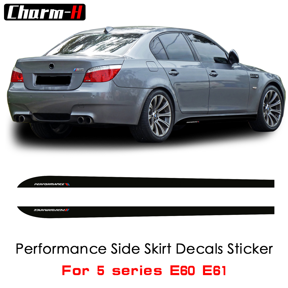 2Pieces Side Skirt Stripes Sill Vinyl Decal Stickers Newest Style M Performance Logo For BMW 5 Series E60 E61 520i 523i 528i