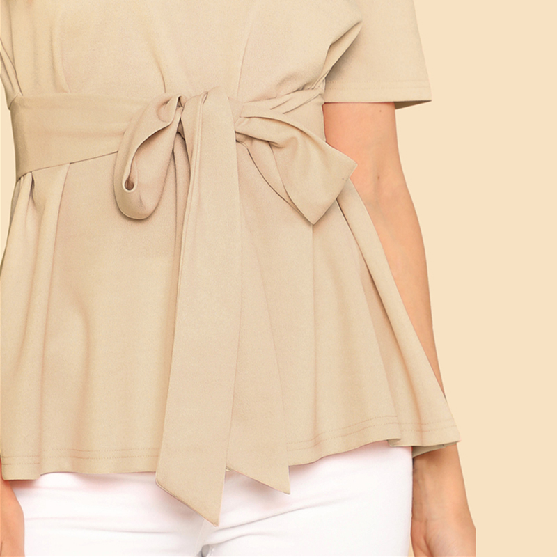 Sheinside Self Belt Keyhole Back Blouse Solid Short Sleeve Top 18 Summer Women Office Ladies Work Elegant Blouse 22