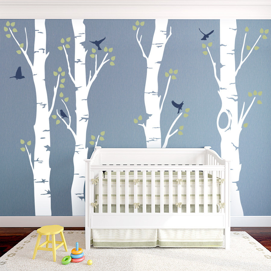244cm Tall Birch Tree With Birds Vinyl Wall Sticker Large