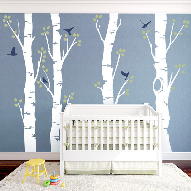 Perfect 244cm Tall Birch Tree With Birds Vinyl Wall Sticker Large Tree Wall Decal  Baby Nursery Tree