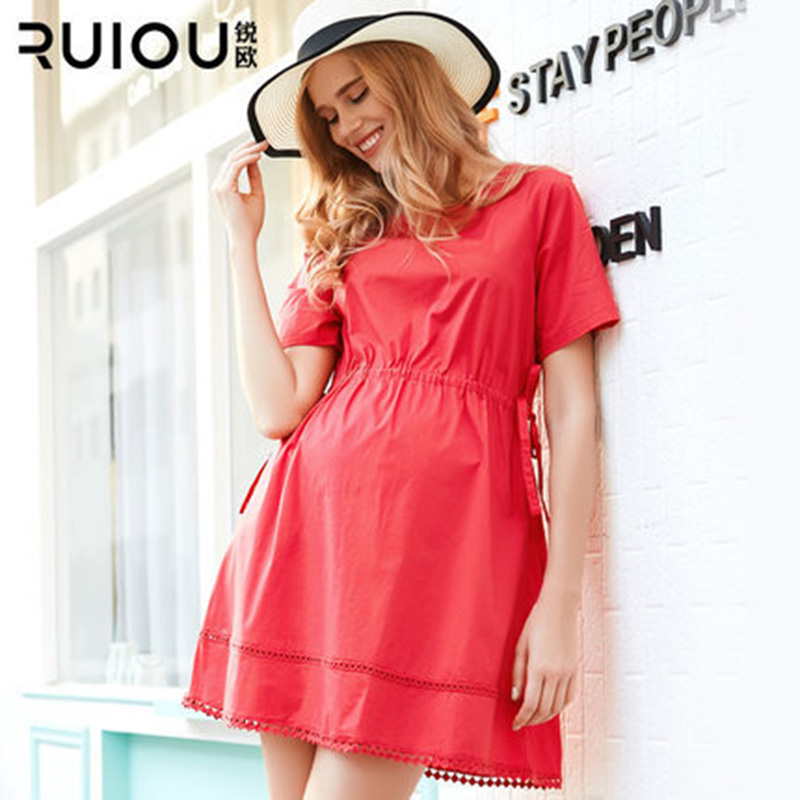 HI BlOOM Newest Fashion Summer 3 Color O-Neck Casual Ordinary Wear Cotton Maternity Dress Clothes gravidity For Pregnant Women 2016 summer new maternity clothes for the pregnant women 100% cotton fashion maternity dress doll dress big size gravida clothes