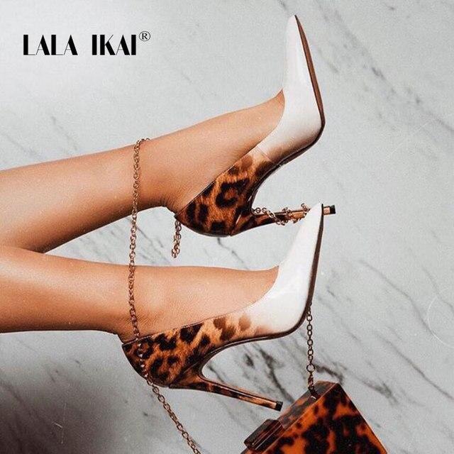 LALA IKAI/модные женские туфли-лодочки из искусственной кожи на очень высоком каблуке с леопардовым принтом, пикантная Свадебная обувь для вечеринки, Zapatos De Mujer 900C3381-5