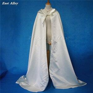 Image 5 - Ivory Cloak Hooded Satin Wedding Cloak Cape Costume Renaissance Medieval Clothing Fairy Adult