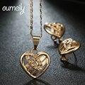 OUMEILY Imitação Conjuntos De Jóias de Cristal Para As Mulheres Na Moda Pingente de Coração de Moda Ouro/Platina Banhado Dubai Conjuntos de Brinco Colar