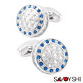 SAVOYSHI Classic Retro Hollow pattern Cufflinks for Mens Shirt Cuff bottons Blue Crystal Cuff links Silver Brand Jewelry Design