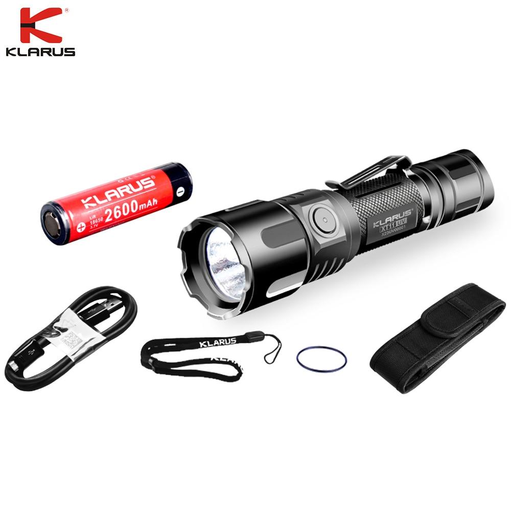 Original Klarus XT11UV LED Flashlight UV light CREE XP-L V3 3* 365nm  900LM USB Rechargeable with 18650 Battery