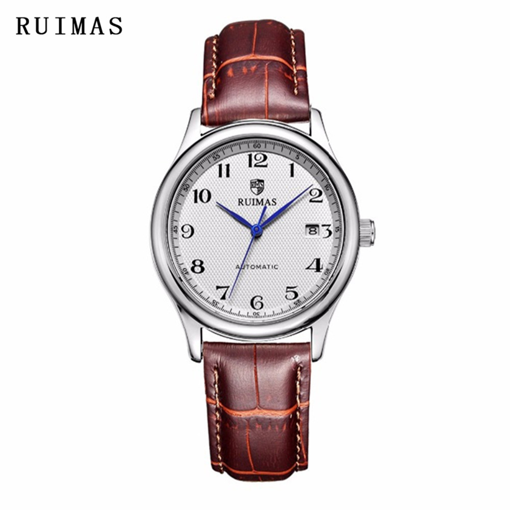 RUIMAS Luxury Brand Men Mechanical Watch Leather Business Wristwatches Relogio Masculino Gentle Casual Watches Erkek Kol Saati relogio masculino men business watch leather wristwatch rose gold quartz watches mens 2018 ruimas classic clock erkek kol saati