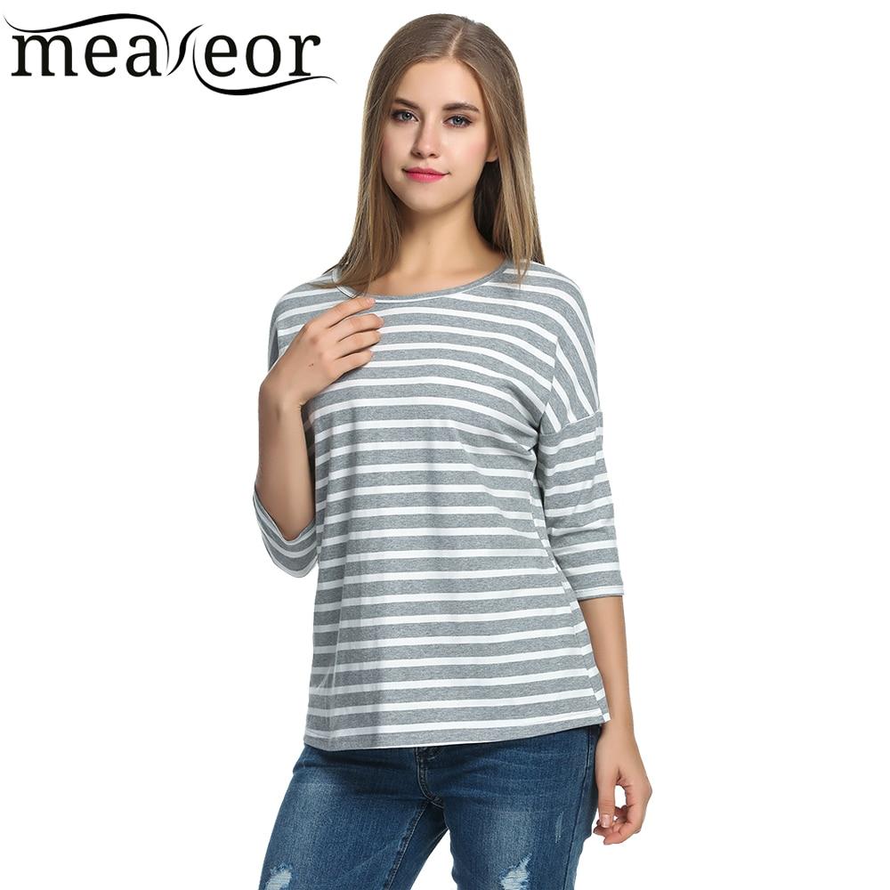 f0d511e30a487 Meaneor Femmes Rayé T shirts 2018 D'été 3/4 Manches Chauve Souris Noir  Blanc Tops Casual O cou T shirts Pour Femmes Loose Fit Top tee dans T-Shirts  de Mode ...