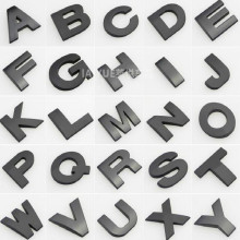 BLACK height 4.5CM Letter alphabet car emblem Letters A B C D E F G H I J K L M N O P Q R S T for modify decoration