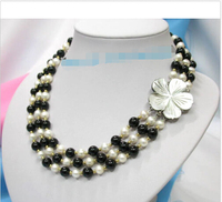 Prett Lovely Women's Wedding FREE shipping> >>>3row white cultured pearls black gem necklace shell c