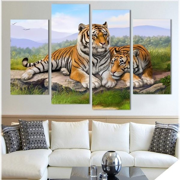 Hot Sale Tiger Animal Oil Painting On Canvas Printed Wall Art Pictures For Living Room Fashion Home Decor Quadros Decorativos